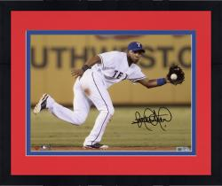 Framed Elvis Andrus Texas Rangers Autographed 8x10 Fielding Ball Photograph