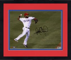 Framed Elvis Andrus Texas Rangers Autographed 8x10 Jump Throw In Air Photograph