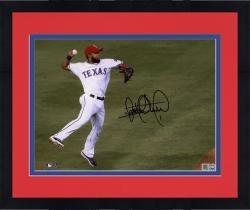 "Framed Elvis Andrus Texas Rangers Autographed 8"" x 10"" Jump Throw In Air Photograph"