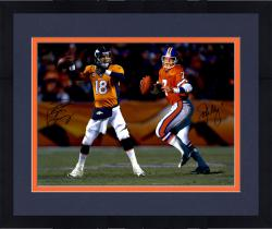 Framed ELWAY, JOHN/MANNING, PEYTON AUTO (BRONCOS) 16X20 PHOTO - Mounted Memories