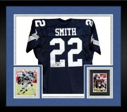 Framed Emmitt Smith Dallas Cowboys Autographed Custom Blue Jersey