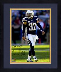 "Framed Eric Weddle San Diego Chargers Autographed ""Go Bolts"" Blue Jersey 16"" x 20"" Vertical Photograph"