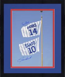 Framed Ernie Banks and Ron Santo Chicago Cubs Autographed 16'' x 20'' Retired Number Flag Photograph