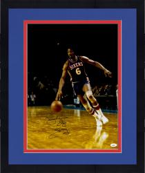 "Framed Julius Erving Autographed 76ers 16x20 Photo with ""Dr. J"" Inscription"