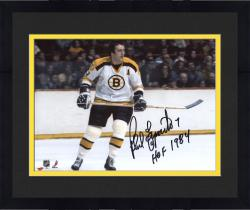 "Framed Phil Esposito Boston Bruins Autographed 8"" x 10"" White Horizontal Photograph with HOF 1984 Inscription"