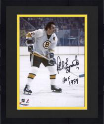 "Framed Phil Esposito Boston Bruins Autographed 8"" x 10"" White Vertical Photograph with HOF 1984 Inscription"