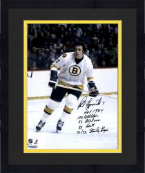 "Framed Phil Esposito Boston Bruins Autographed 16"" x 20"" White Skate Photograph with Multiple Inscriptions"