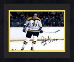 "Framed Phil Esposito Boston Bruins Autographed 16"" x 20"" White Horizontal Photograph with SC Champs Inscription"