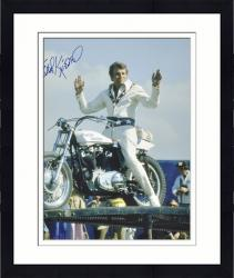 Framed Evel Knievel Autographed 16'' x 20'' Pose on Bike Photograph - Mounted Memories