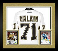 Framed Evgeni Malkin Pittsburgh Penguins Autographed Black Reebok EDGE Jersey