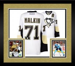 Framed Evgeni Malkin Pittsburgh Penguins Autographed White Reebok Premier Jersey