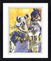 "Framed Rosey Grier, Deacon Jones, Lamar Lundy & Merlin Olsen Los Angeles Rams Autographed 19"" x 26"" Lithograph"