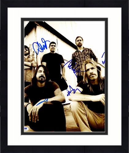 """Framed Foo Fighters Autographed 11""""x 14"""" With 5 Signatures Vertical Complete Band Photograph #1 - PSA/DNA LOA"""