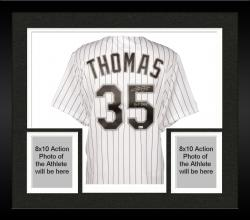 Framed Frank Thomas Chicago White Sox Autographed Replica Pinstripe Jersey with HOF 14 Inscription
