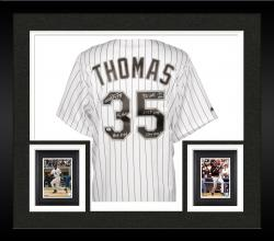 Framed Frank Thomas Chicago White Sox Autographed Replica Pinstripe Jersey with Multiple Inscription-#1 of a Limited Edition of 34