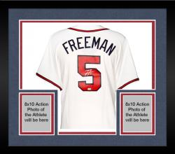 Framed Freddie Freeman Atlanta Braves Autographed Majestic Replica White Jersey