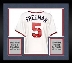 Framed Freddie Freeman Atlanta Braves Autographed Majestic Replica White Jersey