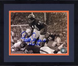 "Framed Gale Sayers Chicago Bears Autographed 8"" x 10"" Horizontal Black and White Photograph with HOF 77 Inscription"