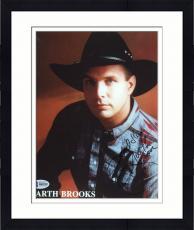 "Framed Garth Brooks Autographed 8"" x 10"" Jean Jacket & Black Hat Red Background Photograph - Beckett COA"