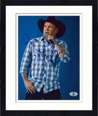 "Framed Garth Brooks Autographed 8"" x 10"" Singing Photograph - Beckett COA"