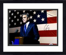 """Framed George Clooney Autographed 11""""x 14"""" Ides of March In Front of American Flag Photograph - PSA/DNA COA"""