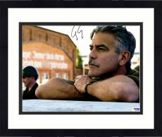 """Framed George Clooney Autographed 11""""x 14"""" Monuments Men Leaning Chin On Hands Photograph - PSA/DNA COA"""