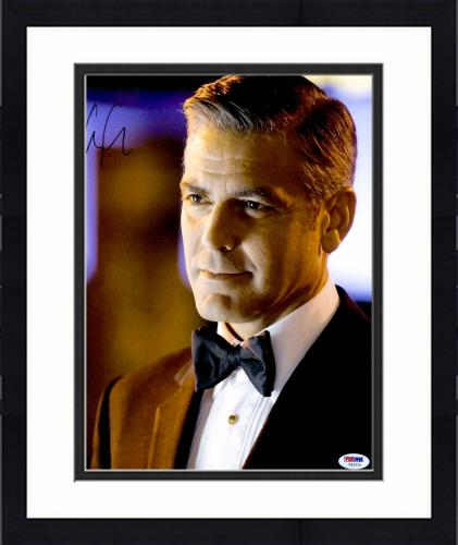 """Framed George Clooney Autographed 11""""x 14"""" Oceans 13 Wearing Bow Tie Photograph - PSA/DNA COA"""