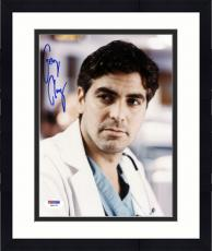 """Framed George Clooney Autographed 8""""x 10"""" ER Wearing Doctor's Coat Photograph With Vintage Full Name Autograph - PSA/DNA COA"""