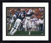 """Framed George Martin New York Giants Autographed 16"""" x 20"""" Super Bowl XXI Elway Hit Photograph"""