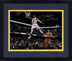 """Framed Paul George Indiana Pacers Autographed 16"""" x 20"""" White Dunk Photograph with 360 Windmill Dunk Inscription"""