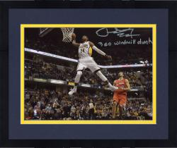 """Framed Paul George Indiana Pacers Autographed 8"""" x 10"""" White Dunk Photograph with 360 Windmill Inscription"""