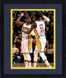 """Framed Paul George & Roy Hibbert Indiana Pacers Dual Autographed 16"""" x 20"""" High Five Photograph"""