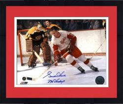 Framed Gordie Howe Detroit Red Wings Autographed 8'' x 10'' Color Action Photograph with Blue Ink Signature