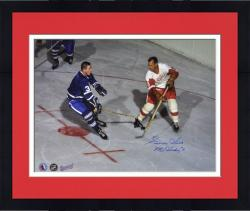 """Framed Gordie Howe Detroit Red Wings Autographed 16"""" x 20"""" vs. Johnny B. Photograph with Mr. Hockey Inscription"""