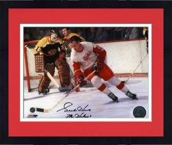 """Framed Gordie Howe Detroit Red Wings Autographed 8"""" x 10"""" vs. Boston Bruins Photograph with Mr. Hockey Inscription"""