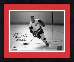 "Framed Gordie Howe Detroit Red Wings Autographed 8"" x 10"" Action Black Ink Photograph with Mr. Hockey Inscription"