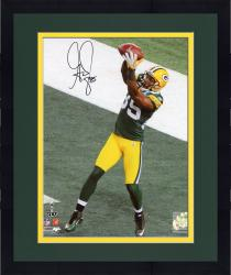 """Framed Greg Jennings Green Bay Packers Super Bowl XLV Autographed 8"""" x 10"""" Catch Photograph"""
