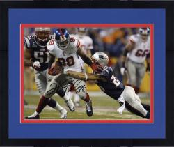 "Framed Hakeem Nicks New York Giants Super Bowl XLVI Autographed 8"" x 10"" Horizontal Breaking Tackle Photograph"