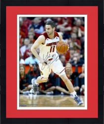 Framed Luke Hancock Louisville Cardinals Autographed 16'' x 20'' White Uniform Dribble Photograph - Mounted Memories
