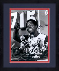 Framed MOU BRAVES 1 HANK AARON 16X20 AUT PHOTO MLB AUTPHO - - Mounted Memories