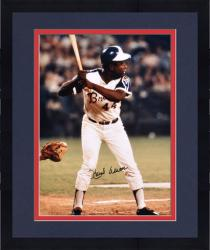 "Framed Hank Aaron Milwaukee Braves Autographed 16"" x 20"" Batting Photograph"
