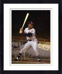 "Framed Hank Aaron Milwaukee Braves Autographed 8"" x 10"" Batting Photograph"