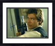 """Framed Harrison Ford Star Wars Autographed 16"""" x 20"""" Holding Gun Photograph - BAS"""