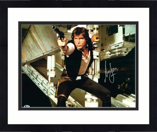 """Framed Harrison Ford Star Wars Autographed 16"""" x 20"""" Shooting Photograph - BAS"""