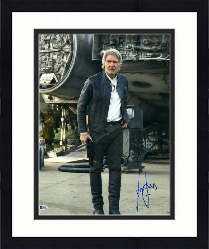 """Framed Harrison Ford Star Wars Autographed 16"""" x 20"""" The Force Awakens Photograph - BAS"""
