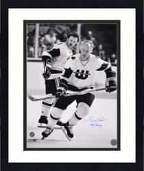 """Framed Gordie Howe Hartford Whalers Autographed 16"""" x 20"""" B& W Photograph with Mr. Hockey Inscription"""