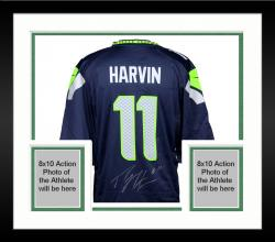 Framed Percy Harvin Seattle Seahawks Autographed Blue Nike Game Jersey