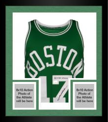 Framed John Havlicek Boston Celtics Autographed Green Jersey with 8X Champ Inscription