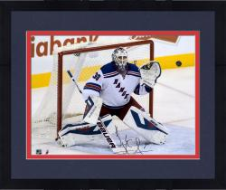 Framed Henrik Lundqvist New York Rangers Autographed 16'' x 20'' Making Save Photograph