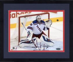 Framed Henrik Lundqvist New York Rangers Autographed 8'' x 10'' Making Save Photograph